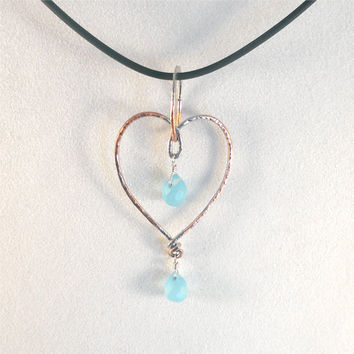 Heart Pendant Necklace With Blue Quartz Briolette Gemstones Wrapped in Sterling And Silver Plated Copper Forged Metal Heart
