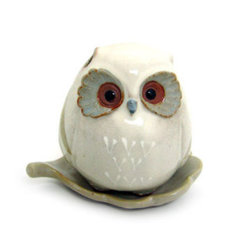 Baby Owl hand crafted incense holder