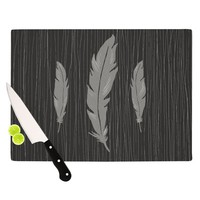 "Jaidyn Erickson ""Feathers Black"" Cutting Board"