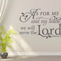 Religious Wall Decal. As for me and my house. - CODE 087