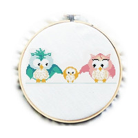 Happy Owls, Cross Stitch Pattern , Counted chart, Nursery, PDF No.82, Instruction