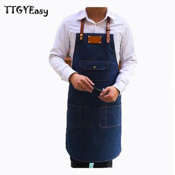 New Aprons Bib Denim pocket cowboy Unisex Aprons for Woman Men Cafe Painting Chef barber Kitchen restaurant Cooking Pinafores