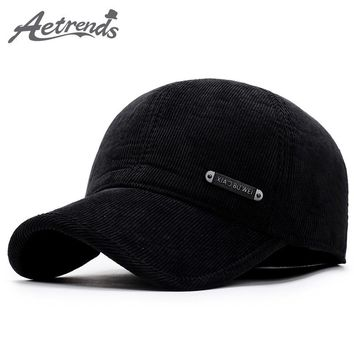 [AETRENDS] 2017 New Winter Baseball Cap Men Keep Warm Hats with Ear Flap Male Winter Caps Dad Hat Z-5922