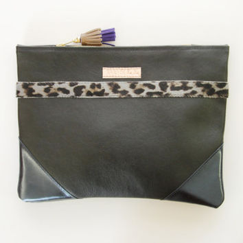 SAFARI 3 / Black leather & Leopard calf hair minimalist clutch bag - Ready to Ship