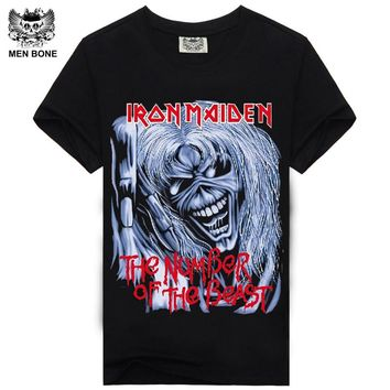 Iron Maiden Skull Print Hip Hop Punk Rock Swag Male Hipster Black Tee