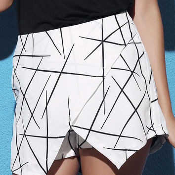 White Mid Waist Printed Culotte