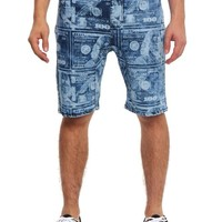Money Print Denim Dropcrotch Shorts JS347 - I5B