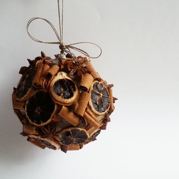 Fragrant christmas tree ornament cinnamon, anise stars, dried lemon, linen cord wonderful christmas decoration natural rustic decor