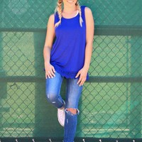 Solid Tank With Lace Trim in Royal Blue