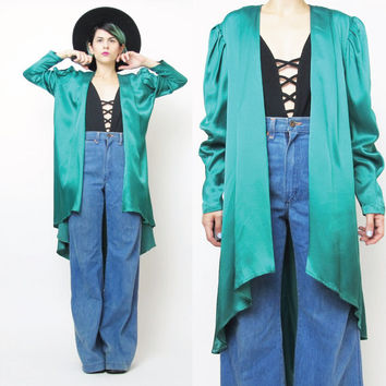 80s  Draped Jacket Bright Green Open Front Jacket Green Draped Cardigan Puffy Sleeves Satin Evening Jacket Mullet Fishtail Draped Blazer (M)