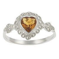 Skyline Silver Sterling Silver with Yellow Topaz Etched Heart Ring