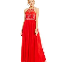 Masquerade High Neckline Beaded Bodice Ballgown | Dillards
