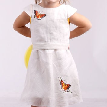 Linen dress with embroidered application of a butterfly, flower girl dress, baptism dress, christening dress