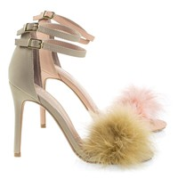 Dejavu Pink By Shoe Republic Fluffy Faux Fur High Heel Sandal, Women's Open Toe Shoes