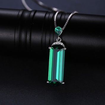 Green Russian Nano Emerald Pendant Necklace