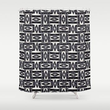 Energetic, electrifying abstract geometric pattern Shower Curtain by Peter Reiss