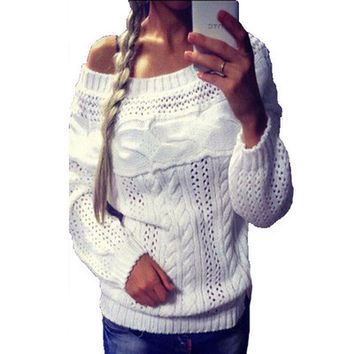 Women Cardigan Hollow Bandage Knit Boat Neckline Outerwear Jacket _ 11591