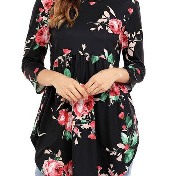 AlvaQ Women 3 4 Ruffle Detailed Sleeve Floral Blouses (S-XXL,4 Colors)