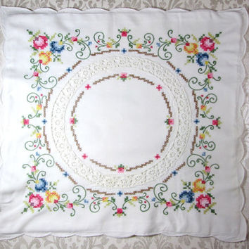 Vintage Pillowcase Throw Pillow Cover Hand Embroidered Cross Stitch