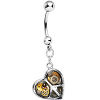 Peace and Love Steampunk Heart Dangle Belly Ring | Body Candy Body Jewelry