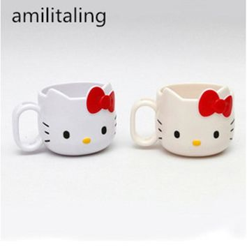 New Hello Kitty Mug gargle cup milk Cup Tumbler Rinse Cup Handle - melamine 1pc laa-2