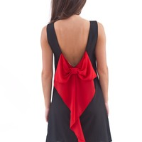 Fan For Life Bow Back Dress-Black/Red Bow - Dresses