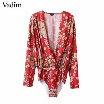 Women low cut V neck shirts sexy bodysuit long sleeve playsuit sweet floral blouse elastic waist streetwear casual