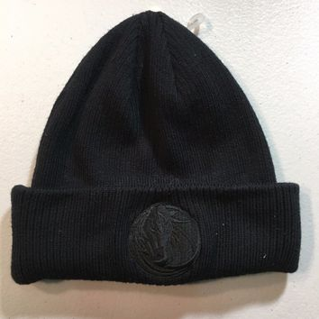 BRAND NEW DALLAS MAVERICKS REEBOK ALL BLACK KNIT HAT
