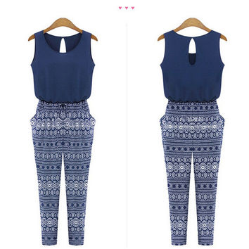 Sleeveless Summer Spring jumpsuits Pencil Long Ethnic boho Print Bodysuit Bule ladies Overalls monos for women hollow out