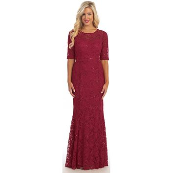 Modest Full Length Mermaid Lace Dress Burgundy Mid Length Sleeves