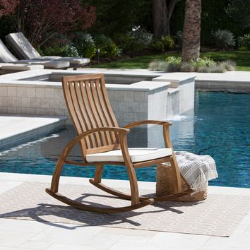 Caleb Outdoor Acacia Wood Rocking Chair with Water Resistant Cushion