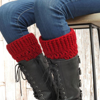 Red Boot Socks - Boot Cuffs - Cranberry Red Winter Accessory - Boot Toppers - Boot Warmers - Red Fashion Accessory - Boot Accessory