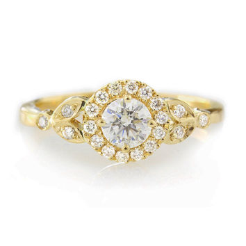 "Diamond Engagement Ring with Pave Diamonds Halo ""Rome Crown"" - 14k Yellow Gold"