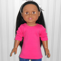 18 inch Girl Doll Clothes Hot Pink Shirt Cotton Knit Tee Shirt American Doll Clothes