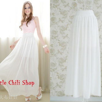Lolita Princess See-through Sexy Summer Casual White Chiffon Long SKirt Skirts