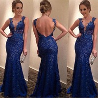 Women Formal Backless Cocktail Party V-Neck Ball Gown Prom Bridesmaid Long Dress