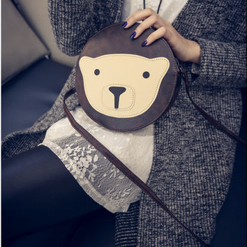 Women's Round Cross Body Bag Teddy Bear Zip Top Closure  Smooth PU Leather Shoulder Bag