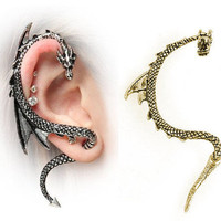 New Gothic Punk Rock Style Dragon's Lure Curve Stud Ear Cuff Wrap Earrings USA