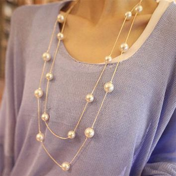 New 2017 Bijoux Cute Love Long Double Layers Chain Imitation Pearl Charm Necklace for Women Jewelry Statement Gift