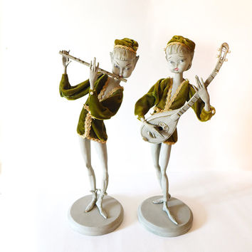 Vintage Elf Figurines, Faerie Decor, Fantasy Woodland Wedding, Renaissance, Kitschy Decor, Gelfin, Lute Flute Musicians, Wooden Fairy