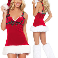 Red Sleeveless Plaid Bow Tie Mini Dress Velvet Santa Costume