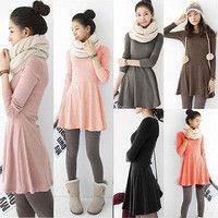 Ladies Long Sleeve Warm Casual Cocktail Party Retro Solid Comfortable Dress Free shipping