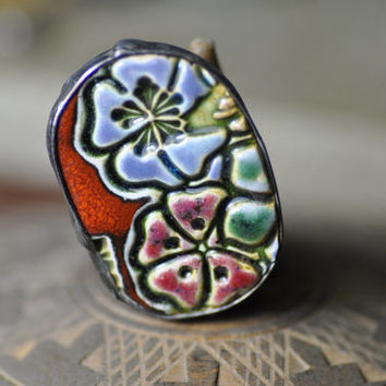 Ceramic ring, jewelry author, relief,  adjustable ring, gift for her, boho artistic, zolanna, author, natural ring cocktail boho style