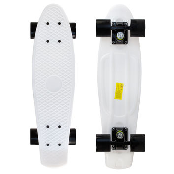 White Penny Style Cruiser Board 22 inch Plastic Skateboard Complete