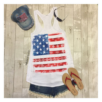 """American Pride"" Distressed Aztec Imprint American Flag Tank Top"