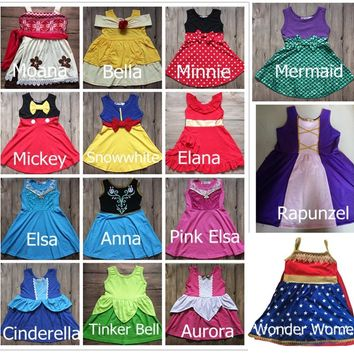 HalloweenPrincess Dress Birthday Elsa Anna Costume Dress Moana Belle Mermaid Minnie Mickey Party Cosply Dress Wonder Women