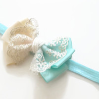Girls aqua seafoam lace bow headband -baby headband,toddler headband, headband, newborn photo prop, baby headband, party headband,UK seller