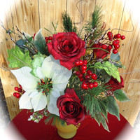 """Christmas Centerpiece in Frosted Glass Vase """"Tis' the Season"""",  Table Centerpiece,Christmas Arrangement, Christmas Dinning Table, Winter"""