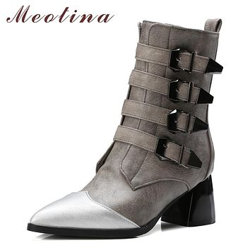 Meotina Shoes Women Western Boots Buckle Mid Calf Boots Fur Zip Thick High Heels Winter Women Boots Gray Black Big Size 10 40 43