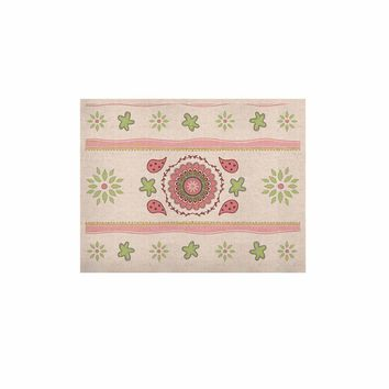 "Cristina Bianco Design ""Rose & Green Mandala Design"" Pink Green Painting KESS Naturals Canvas (Frame not Included)"